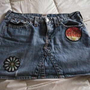 True Religion Distressed Jean Skirt with Appliques